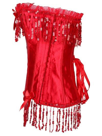 Fringe Sequins Steal Boned Corset - RED L Mobile