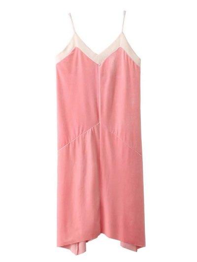 Mesh Trim Velvet Cami Dress - PINK S Mobile