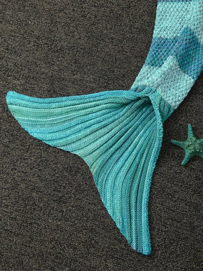 Knitted Wrap Kids Mermaid Tail Blanket - LIGHT GREEN  Mobile