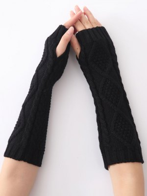 Christmas Winter Diamond Hollow Out Crochet Knit Arm Warmers - Black