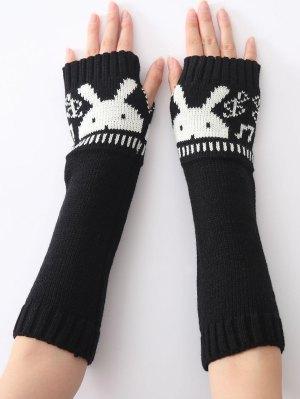 Christmas Winter Rabbit Head Hollow Out Crochet Knit Arm Warmers