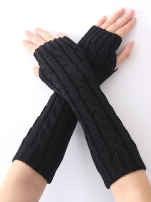 Hemp Decorative Pattern Christmas Keep Warm Crochet Knit Arm Warmers - Black