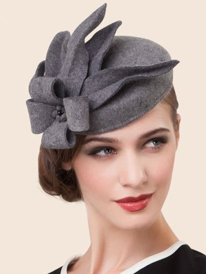 Wool Flower Cocktail Hat - Gray