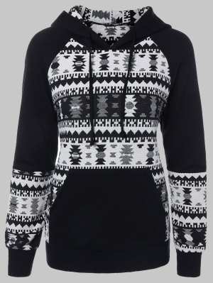 Plus Size Tribal Pullover Hoodie - Black