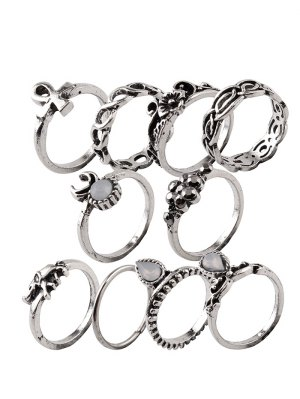Elephant Crucifix Flower Water Drop Rings - Silver