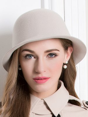 Wool Crown Bowler Hat - Apricot