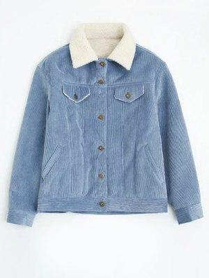 Corduroy Lamb Wool Lined Coat - Light Blue