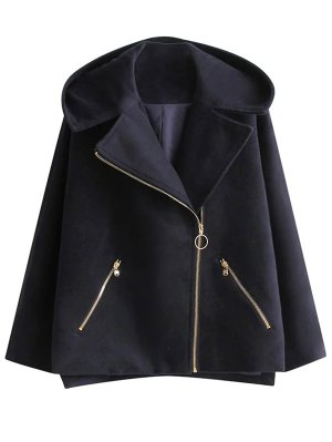Hooded Inclined Zipper Wool Blend Coat - Purplish Blue