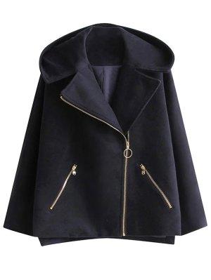 Hooded Inclined Zipper Wool Blend Coat - Purplish Blue