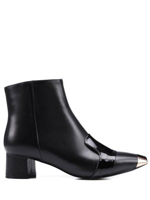 Metal Toe Splicing Zipper Ankle Boots - Black