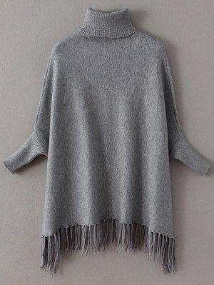 Turtleneck Fringed Dolman Sweater - Gray