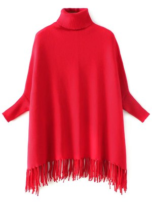 Turtleneck Fringed Dolman Sweater - Red