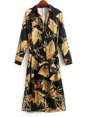 Side Slit Floral Belted Shirt Dress - Floral