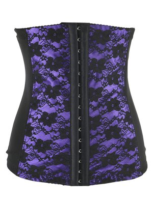 Retro Steal Boned Underbust Lace Corset - Purple