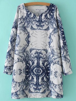 Linen Blend Chinese Painting Dress - Blue And White