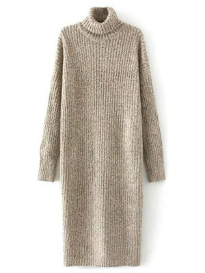 Turtle Neck Tweed Long Sweater Dress - Khaki