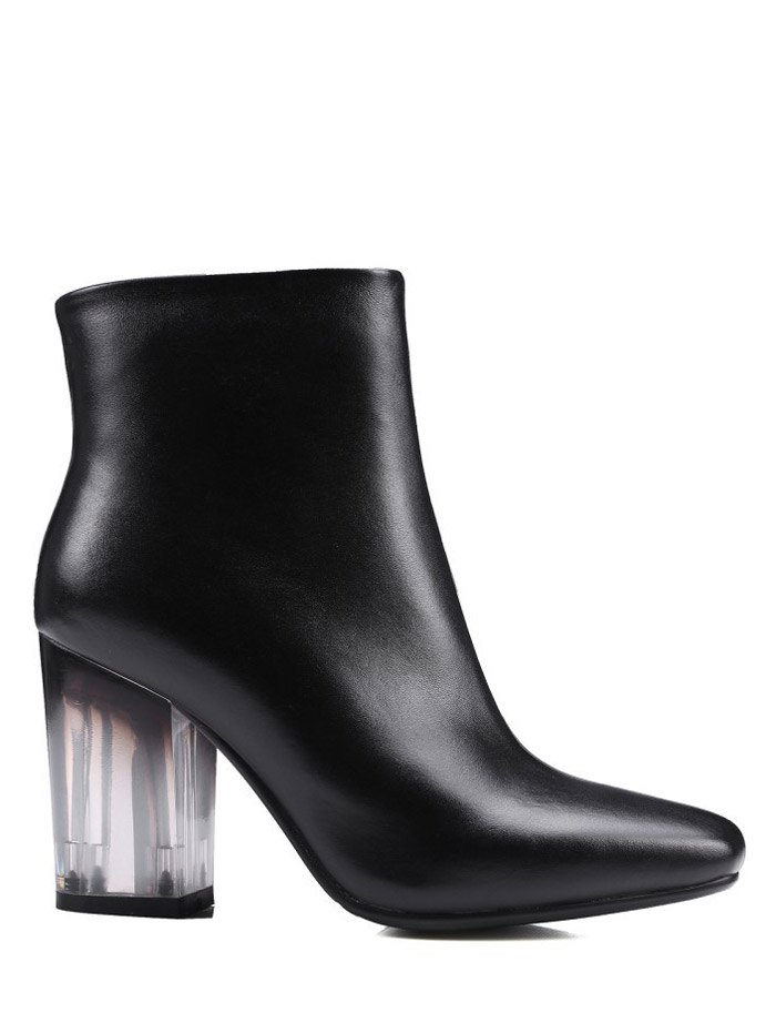 Clear Heel Zipper Ankle Boots