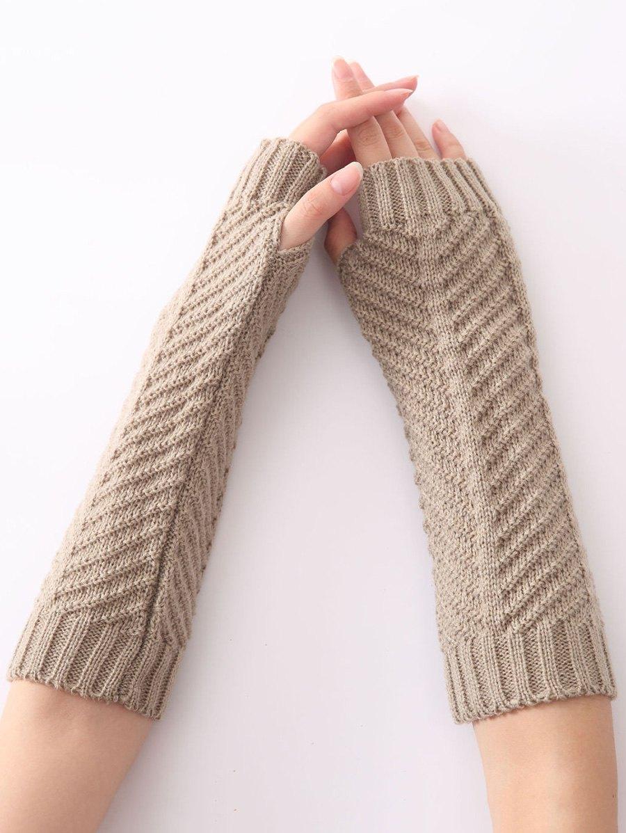 Winter Fishbone Crochet Knit Arm Warmers