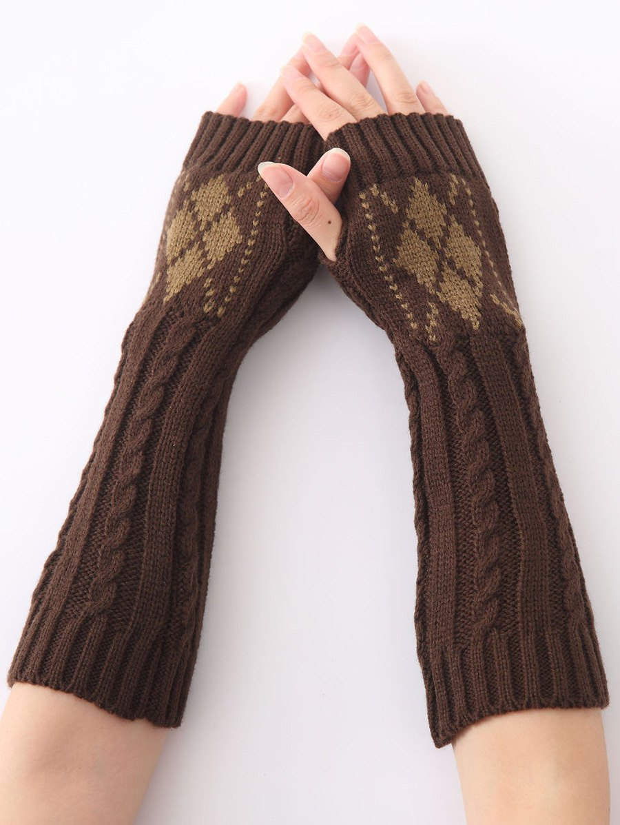 Hemp Decorative Pattern Diamond Crochet Knit Arm Warmers