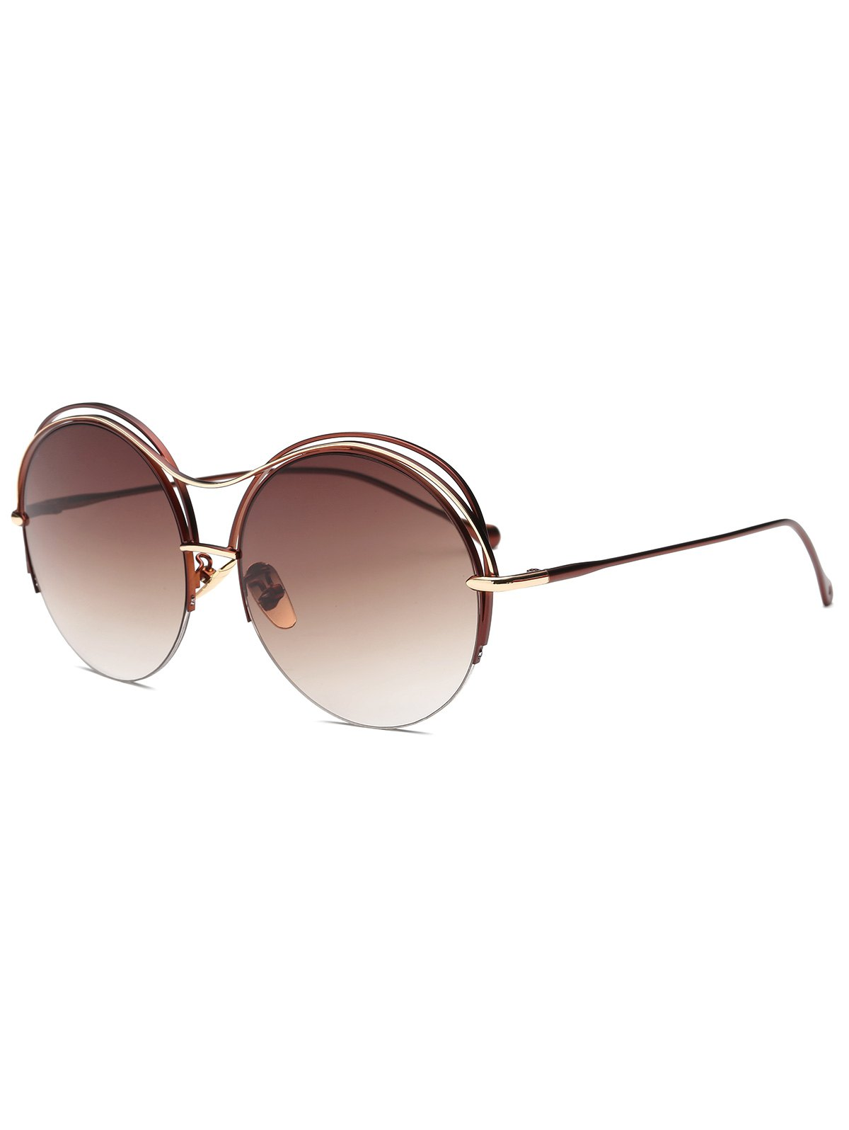 Layered Frame Round Sunglasses
