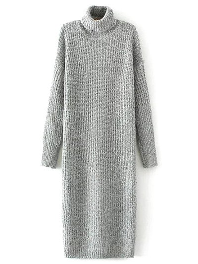 Turtle Neck Tweed Sweater Dress
