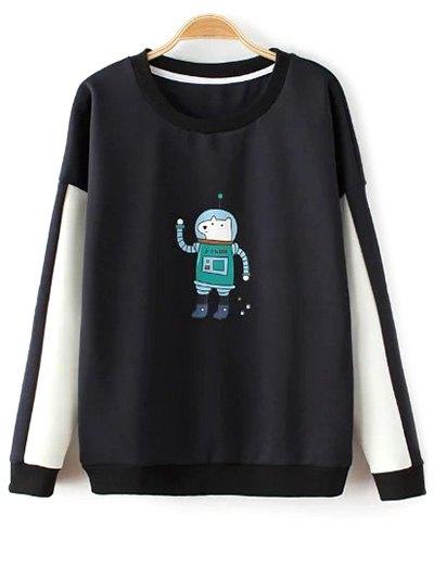 Round Neck Astrodog Print Color Block Sweatshirt