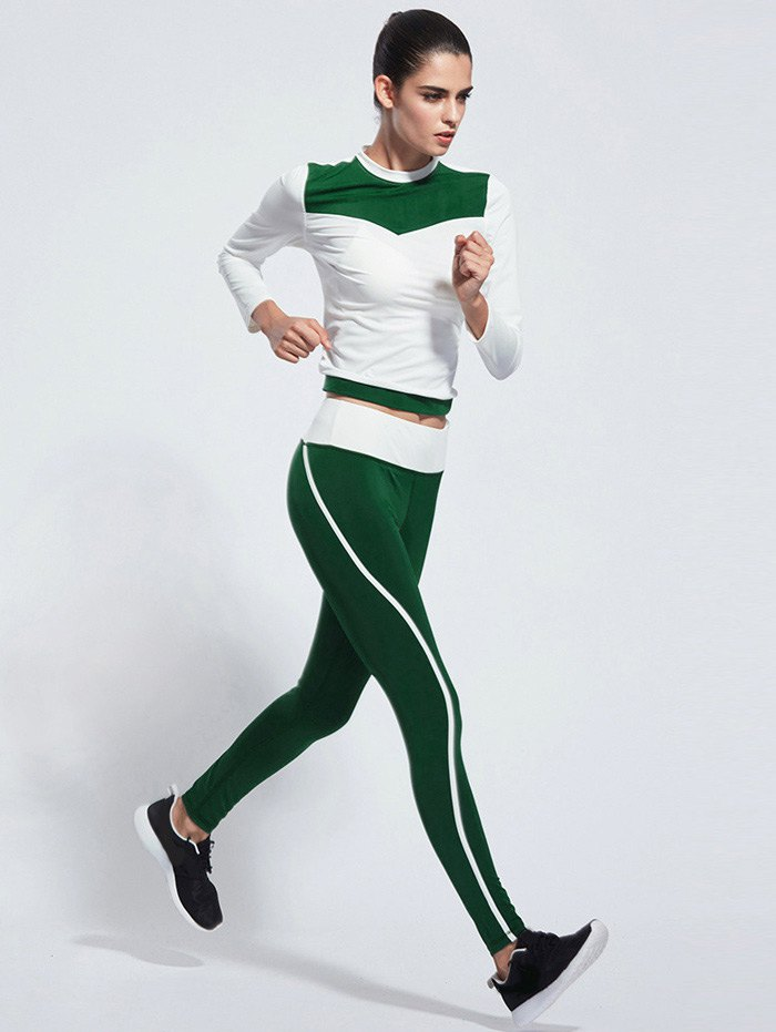 Skinny Color Block Yoga T-Shirt With Pants