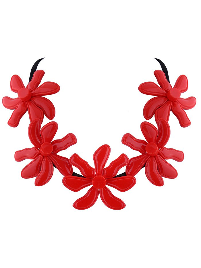 Flower Resin Embellished NecklaceAccessories<br><br><br>Color: RED