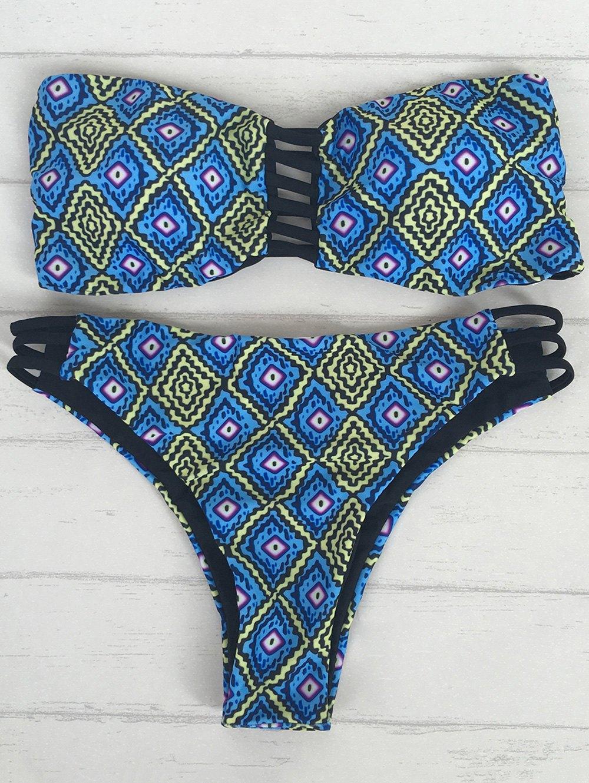 Geometric Print Strapless Bikini