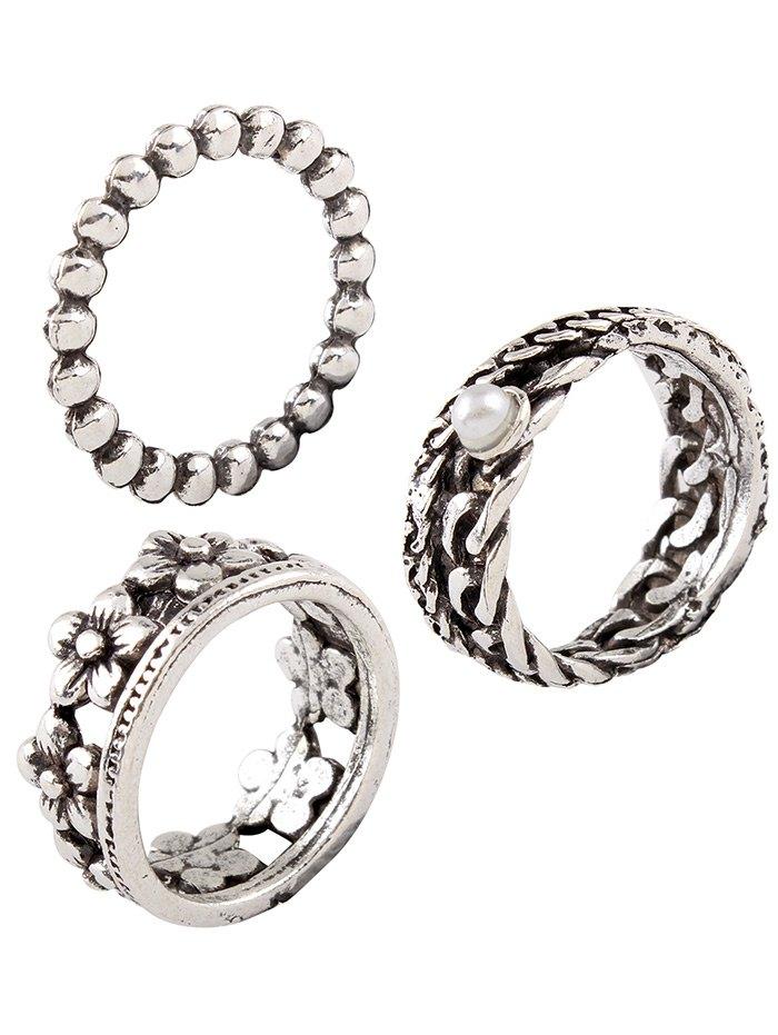 Vintage Faux Pearl Circle Flower Rings