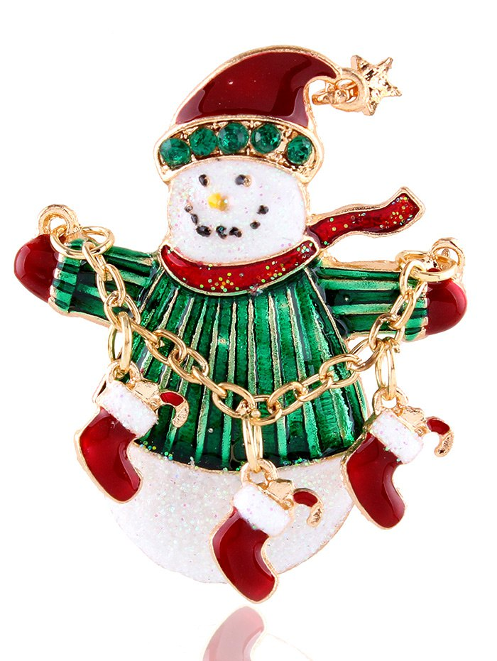 Star Christmas Shoes Snowman Rhinestone Brooch - GOLDEN