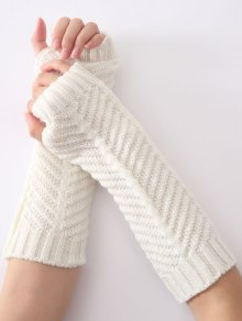 Christmas Winter Fishbone Crochet Knit Arm Warmers - White