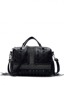 Stitching Fringe Rivet Handbag - Black