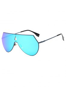 Hollow Triangle Shield Mirror Sunglasses - Ice Blue