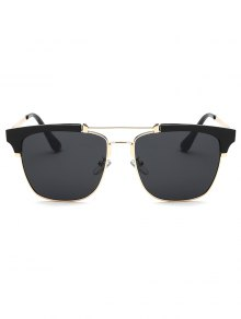 Crossbar Metal Frame Butterfly Sunglasses - Black