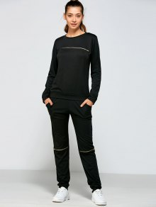 Zippered Sweatshirt And Pants - Black M