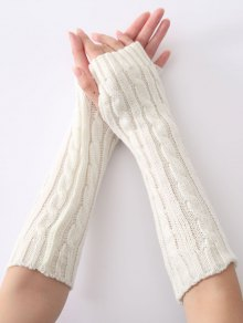 Hemp Decorative Pattern Christmas Keep Warm Crochet Knit Arm Warmers - White