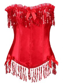 Fringe Sequins Steal Boned Corset