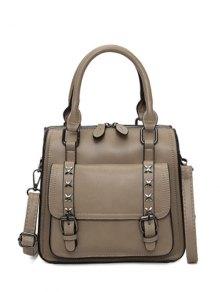 Criss-Cross Double Buckles PU Leather Handbag - Khaki