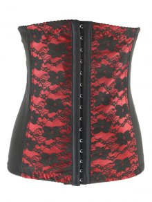 Retro Steal Boned Underbust Lace Corset - Red