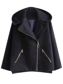 Hooded Inclined Zipper Wool Blend Coat - Purplish Blue M