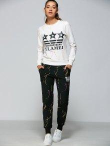 Buy Graphic Sweatshirt Sports Pants - WHITE XL