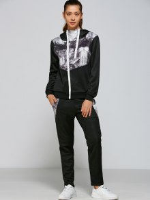 Panelled Zip Up Hoodie And Pants - Black 2xl