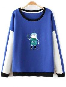 Color Block Astrodog Print Sweatshirt - Sapphire Blue