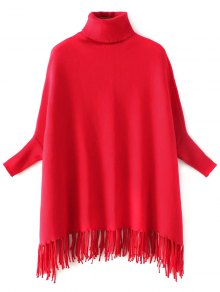 Turtleneck Fringed Dolman Sweater