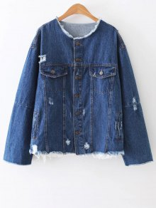 Ripped Patch Design Denim Jacket