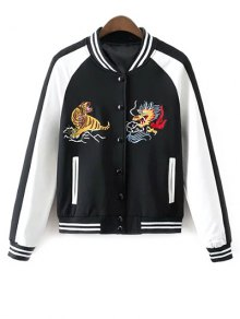 Animal Embroidered Baseball Jacket