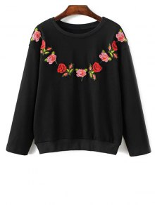Floral Embroidered Crew Neck Sweatshirt