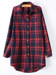 Plus Size Tartan Shirt - Rouge Xl