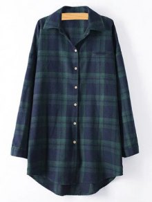 Plus Size Tartan Checkered Shirt - Blackish Green 2xl